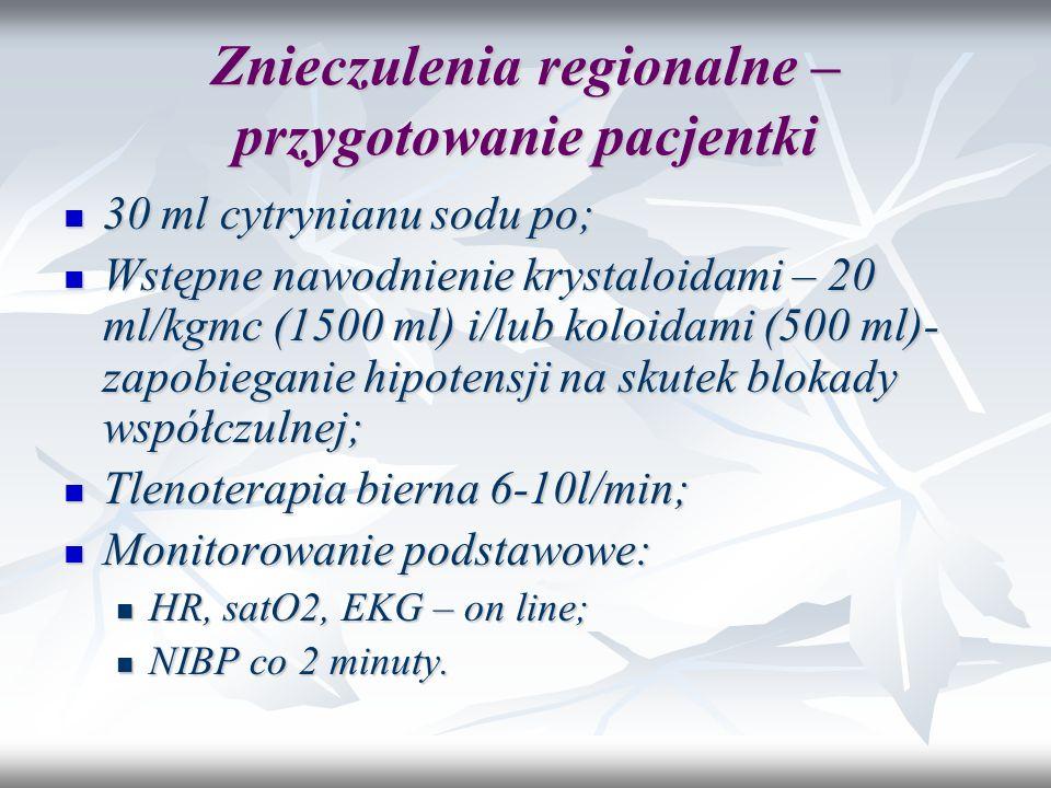 Znieczulenia regionalne – przygotowanie pacjentki 30 ml cytrynianu sodu po; 30 ml cytrynianu sodu po; Wstępne nawodnienie krystaloidami – 20 ml/kgmc (