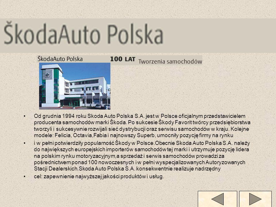 Od grudnia 1994 roku Skoda Auto Polska S.A. jest w Polsce oficjalnym przedstawicielem producenta samochodów marki Škoda. Po sukcesie Škody Favorit twó