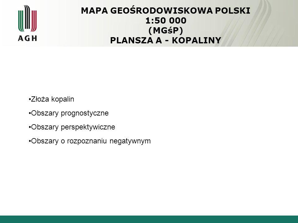 MAPA GEOŚRODOWISKOWA POLSKI 1:50 000 (MGśP) PLANSZA A - KOPALINY Złoża kopalin Obszary prognostyczne Obszary perspektywiczne Obszary o rozpoznaniu negatywnym