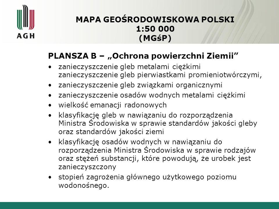 """MAPA GEOŚRODOWISKOWA POLSKI 1:50 000 (MGśP) PLANSZA B – """"Ochrona powierzchni Ziemii zanieczyszczenie gleb metalami ciężkimi zanieczyszczenie gleb pierwiastkami promieniotwórczymi, zanieczyszczenie gleb związkami organicznymi zanieczyszczenie osadów wodnych metalami ciężkimi wielkość emanacji radonowych klasyfikację gleb w nawiązaniu do rozporządzenia Ministra Środowiska w sprawie standardów jakości gleby oraz standardów jakości ziemi klasyfikację osadów wodnych w nawiązaniu do rozporządzenia Ministra Środowiska w sprawie rodzajów oraz stężeń substancji, które powodują, że urobek jest zanieczyszczony stopień zagrożenia głównego użytkowego poziomu wodonośnego."""