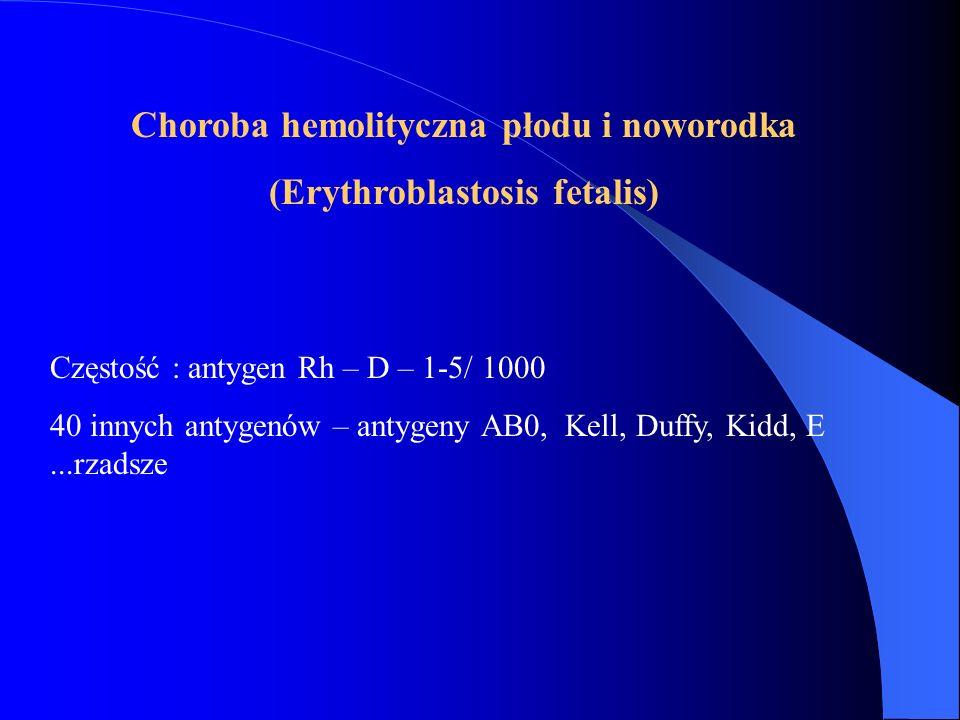 Choroba hemolityczna płodu i noworodka (Erythroblastosis fetalis) Częstość : antygen Rh – D – 1-5/ 1000 40 innych antygenów – antygeny AB0, Kell, Duff