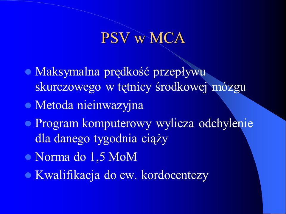 PSV w MCA Maksymalna prędkość przepływu skurczowego w tętnicy środkowej mózgu Metoda nieinwazyjna Program komputerowy wylicza odchylenie dla danego ty
