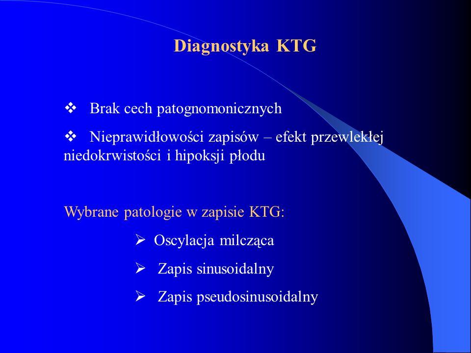 Diagnostyka KTG  Brak cech patognomonicznych  Nieprawidłowości zapisów – efekt przewlekłej niedokrwistości i hipoksji płodu Wybrane patologie w zapi