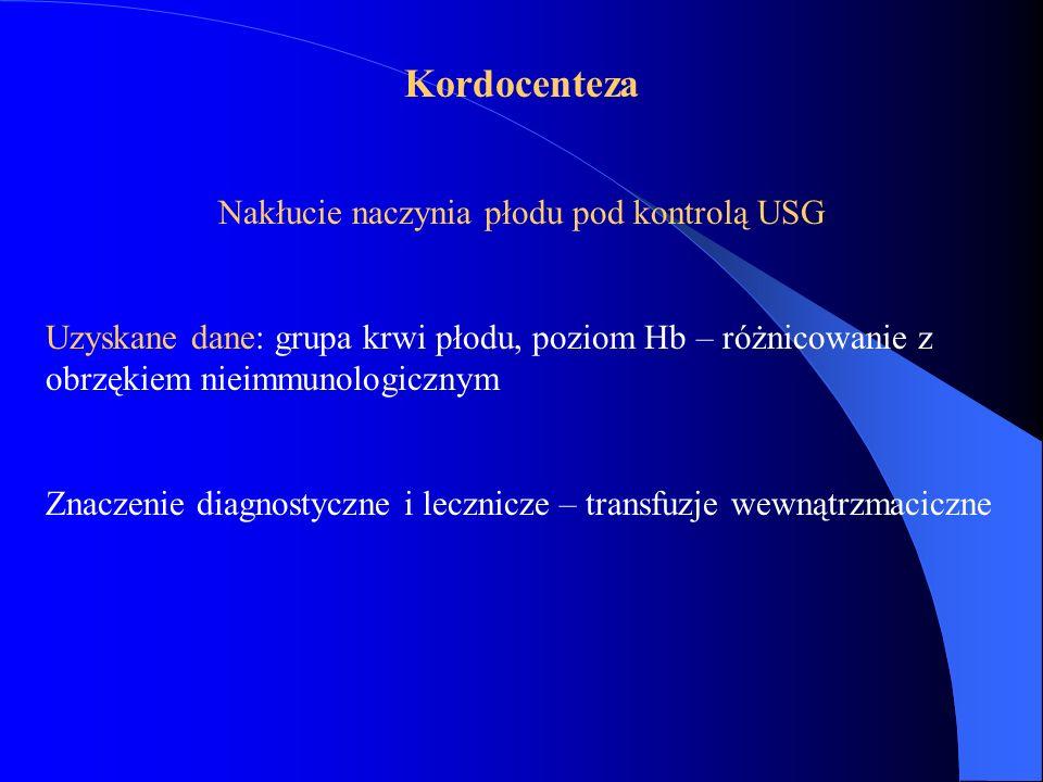 Kordocenteza Nakłucie naczynia płodu pod kontrolą USG Uzyskane dane: grupa krwi płodu, poziom Hb – różnicowanie z obrzękiem nieimmunologicznym Znaczen