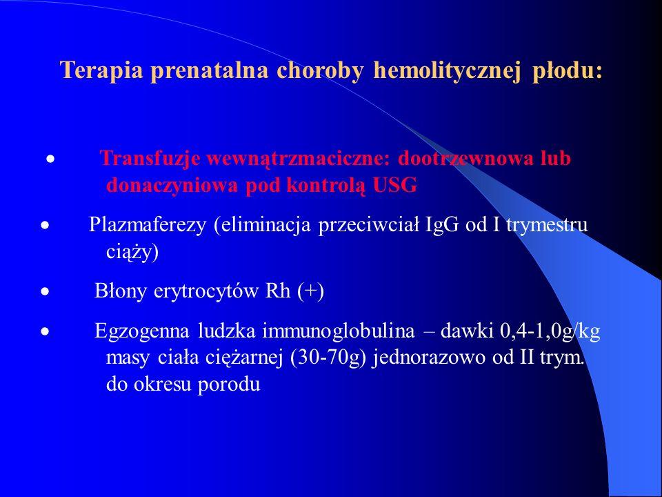 Terapia prenatalna choroby hemolitycznej płodu:  Transfuzje wewnątrzmaciczne: dootrzewnowa lub donaczyniowa pod kontrolą USG  Plazmaferezy (eliminac