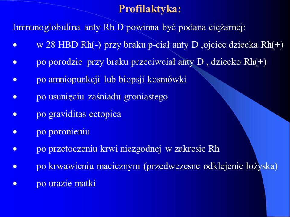 Profilaktyka: Immunoglobulina anty Rh D powinna być podana ciężarnej:  w 28 HBD Rh(-) przy braku p-ciał anty D,ojciec dziecka Rh(+)  po porodzie prz