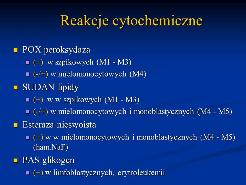Reakcje cytochemiczne Reakcje cytochemiczne POX peroksydaza POX peroksydaza (+) w szpikowych (M1 - M3) (+) w szpikowych (M1 - M3) (-/+) w mielomonocyt