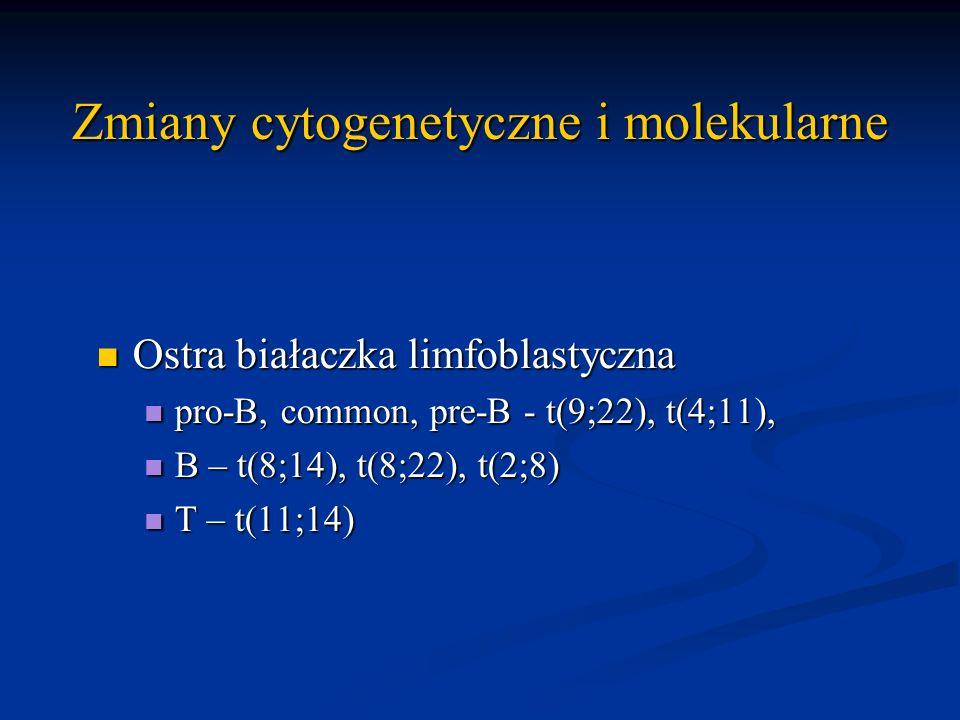 Zmiany cytogenetyczne i molekularne Ostra białaczka limfoblastyczna Ostra białaczka limfoblastyczna pro-B, common, pre-B - t(9;22), t(4;11), pro-B, co