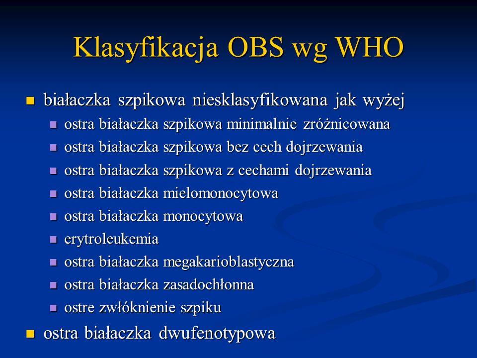 Klasyfikacja OBS wg WHO białaczka szpikowa niesklasyfikowana jak wyżej białaczka szpikowa niesklasyfikowana jak wyżej ostra białaczka szpikowa minimal