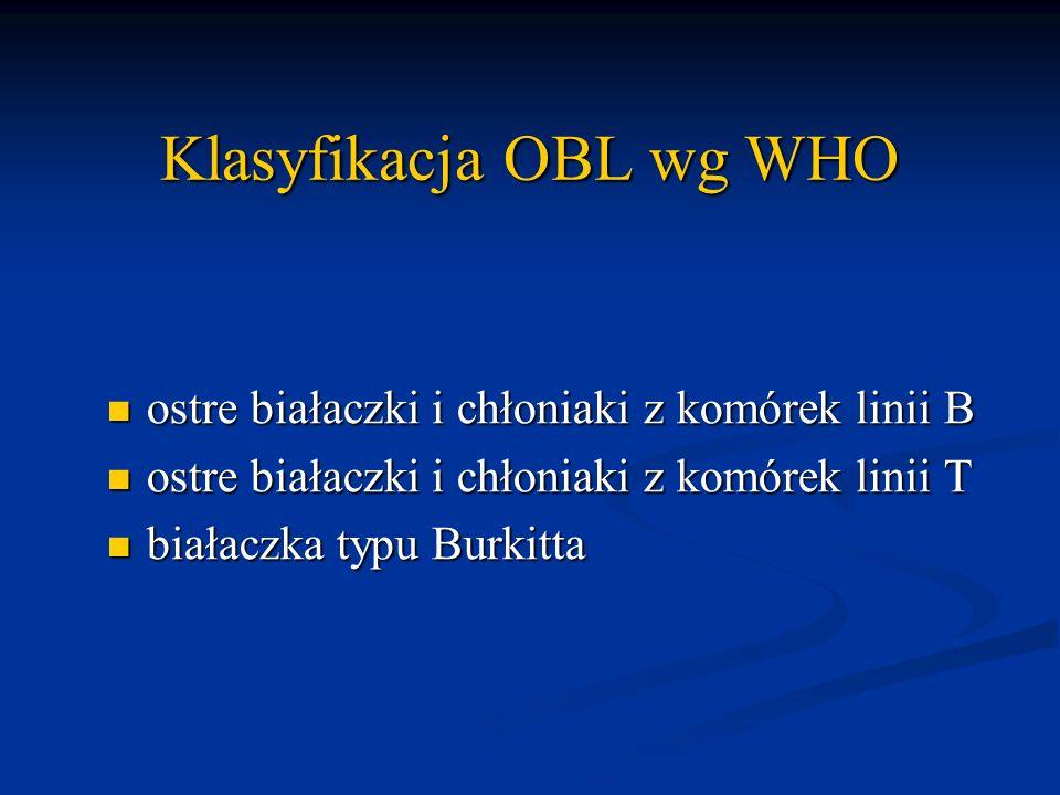 Klasyfikacja OBL wg WHO ostre białaczki i chłoniaki z komórek linii B ostre białaczki i chłoniaki z komórek linii B ostre białaczki i chłoniaki z komó