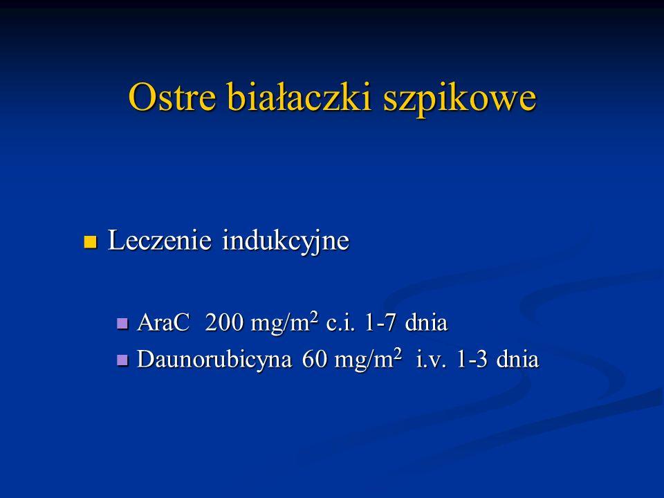 Ostre białaczki szpikowe Leczenie indukcyjne Leczenie indukcyjne AraC 200 mg/m 2 c.i. 1-7 dnia AraC 200 mg/m 2 c.i. 1-7 dnia Daunorubicyna 60 mg/m 2 i