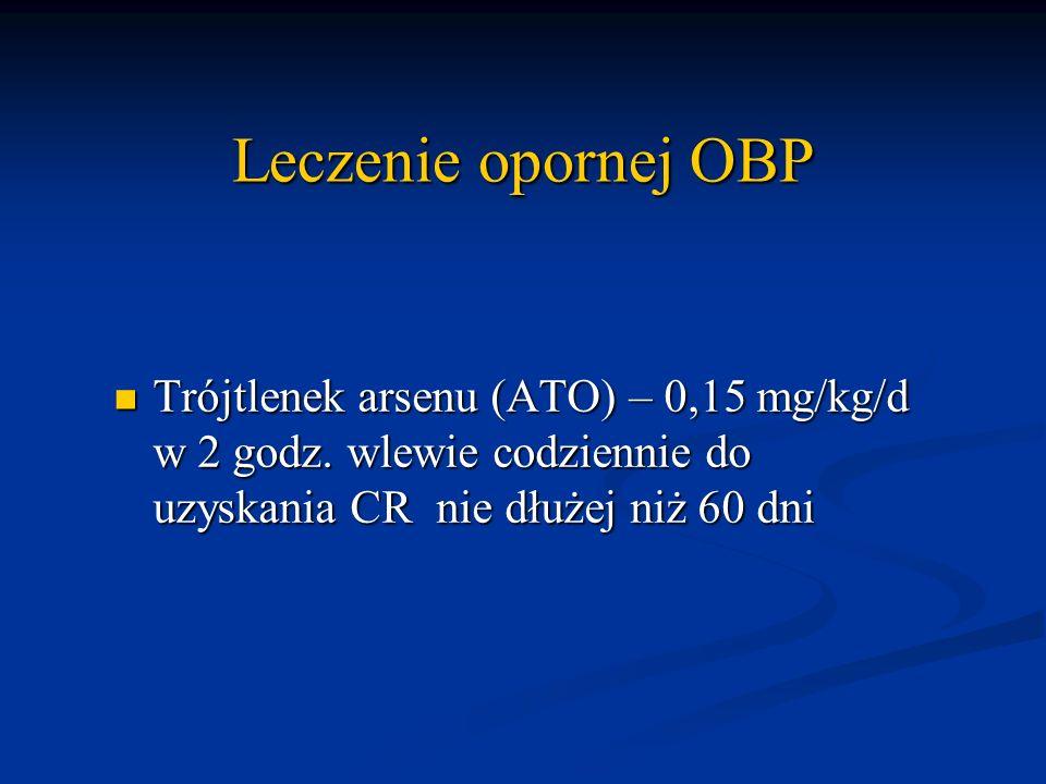 Leczenie opornej OBP Trójtlenek arsenu (ATO) – 0,15 mg/kg/d w 2 godz. wlewie codziennie do uzyskania CR nie dłużej niż 60 dni Trójtlenek arsenu (ATO)