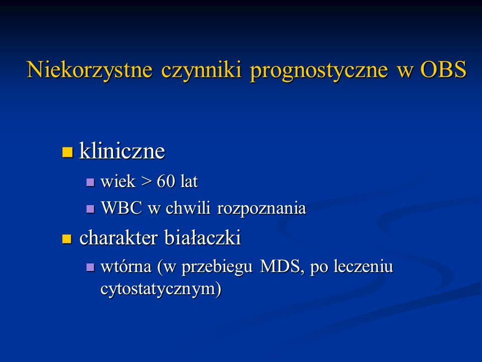 Niekorzystne czynniki prognostyczne w OBS kliniczne kliniczne wiek > 60 lat wiek > 60 lat WBC w chwili rozpoznania WBC w chwili rozpoznania charakter