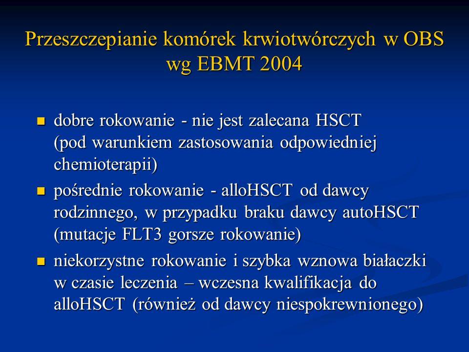 Przeszczepianie komórek krwiotwórczych w OBS wg EBMT 2004 dobre rokowanie - nie jest zalecana HSCT (pod warunkiem zastosowania odpowiedniej chemiotera