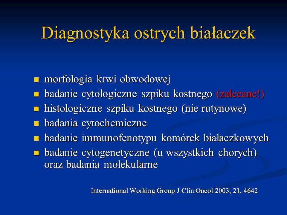 Diagnostyka ostrych białaczek morfologia krwi obwodowej morfologia krwi obwodowej badanie cytologiczne szpiku kostnego (zalecane!) badanie cytologiczn