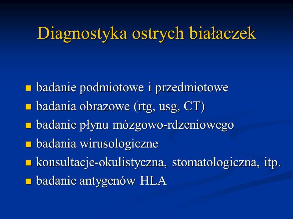Diagnostyka ostrych białaczek badanie podmiotowe i przedmiotowe badanie podmiotowe i przedmiotowe badania obrazowe (rtg, usg, CT) badania obrazowe (rt
