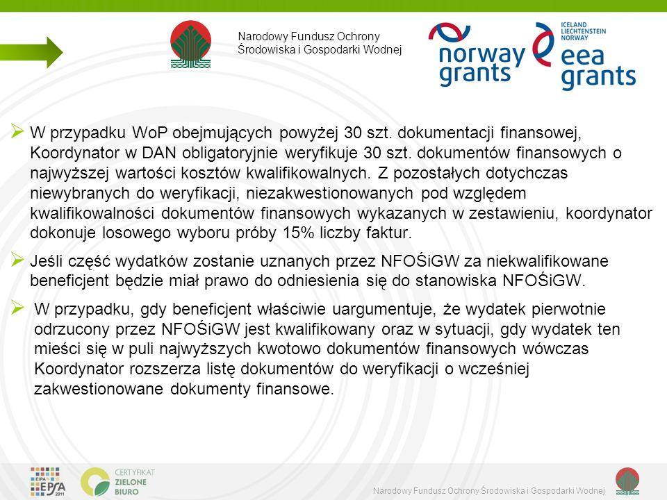 Narodowy Fundusz Ochrony Środowiska i Gospodarki Wodnej  W przypadku WoP obejmujących powyżej 30 szt.