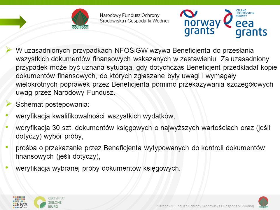  W uzasadnionych przypadkach NFOŚiGW wzywa Beneficjenta do przesłania wszystkich dokumentów finansowych wskazanych w zestawieniu.