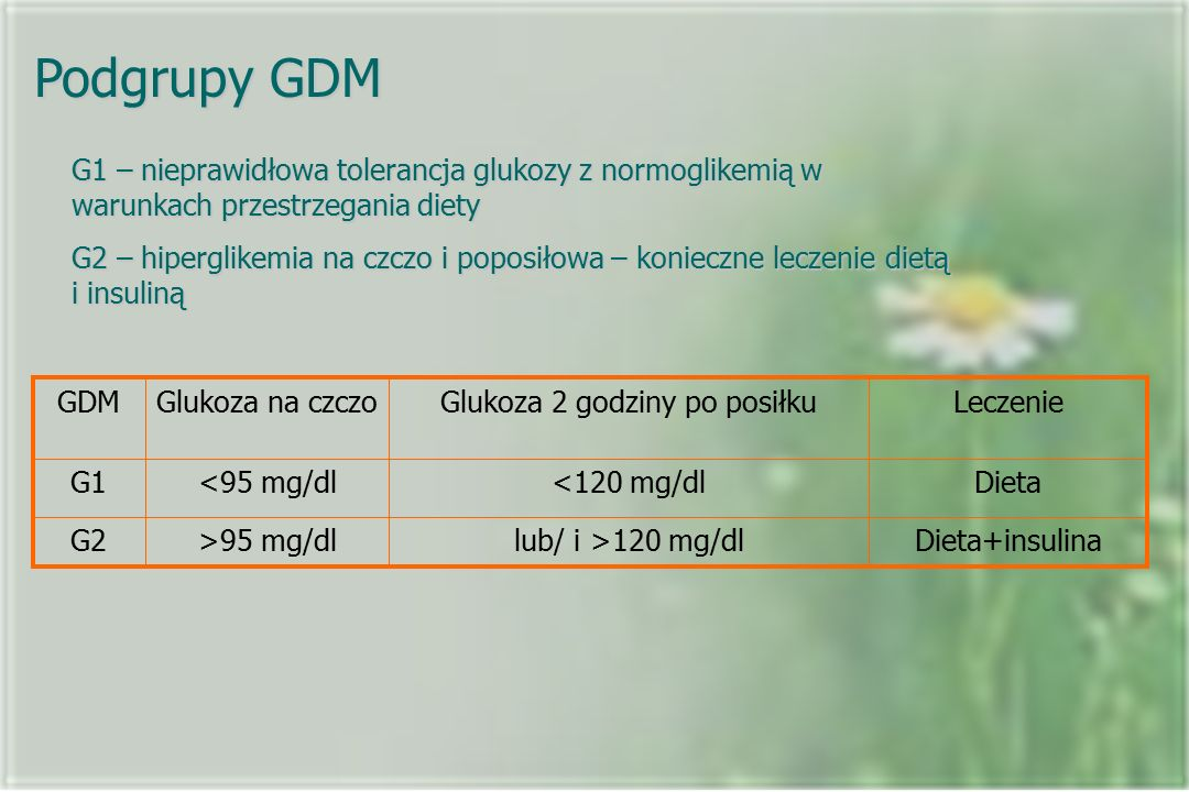 Podgrupy GDM G1 – nieprawidłowa tolerancja glukozy z normoglikemią w warunkach przestrzegania diety G2 – hiperglikemia na czczo i poposiłowa – konieczne leczenie dietą i insuliną Dieta+insulinalub/ i >120 mg/dl>95 mg/dlG2 Dieta<120 mg/dl<95 mg/dlG1 LeczenieGlukoza 2 godziny po posiłkuGlukoza na czczoGDM