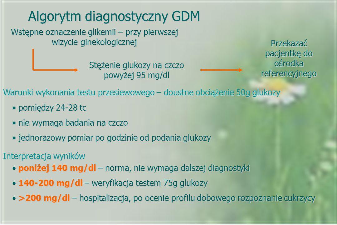 Algorytm diagnostyczny GDM Wstępne oznaczenie glikemii – przy pierwszej wizycie ginekologicznej Stężenie glukozy na czczo powyżej 95 mg/dl Przekazać pacjentkę do ośrodka referencyjnego Warunki wykonania testu przesiewowego – doustne obciążenie 50g glukozy pomiędzy 24-28 tc pomiędzy 24-28 tc nie wymaga badania na czczo nie wymaga badania na czczo jednorazowy pomiar po godzinie od podania glukozy jednorazowy pomiar po godzinie od podania glukozy Interpretacja wyników poniżej 140 mg/dl – norma, nie wymaga dalszej diagnostyki poniżej 140 mg/dl – norma, nie wymaga dalszej diagnostyki 140-200 mg/dl – weryfikacja testem 75g glukozy 140-200 mg/dl – weryfikacja testem 75g glukozy >200 mg/dl – hospitalizacja, po ocenie profilu dobowego rozpoznanie cukrzycy >200 mg/dl – hospitalizacja, po ocenie profilu dobowego rozpoznanie cukrzycy
