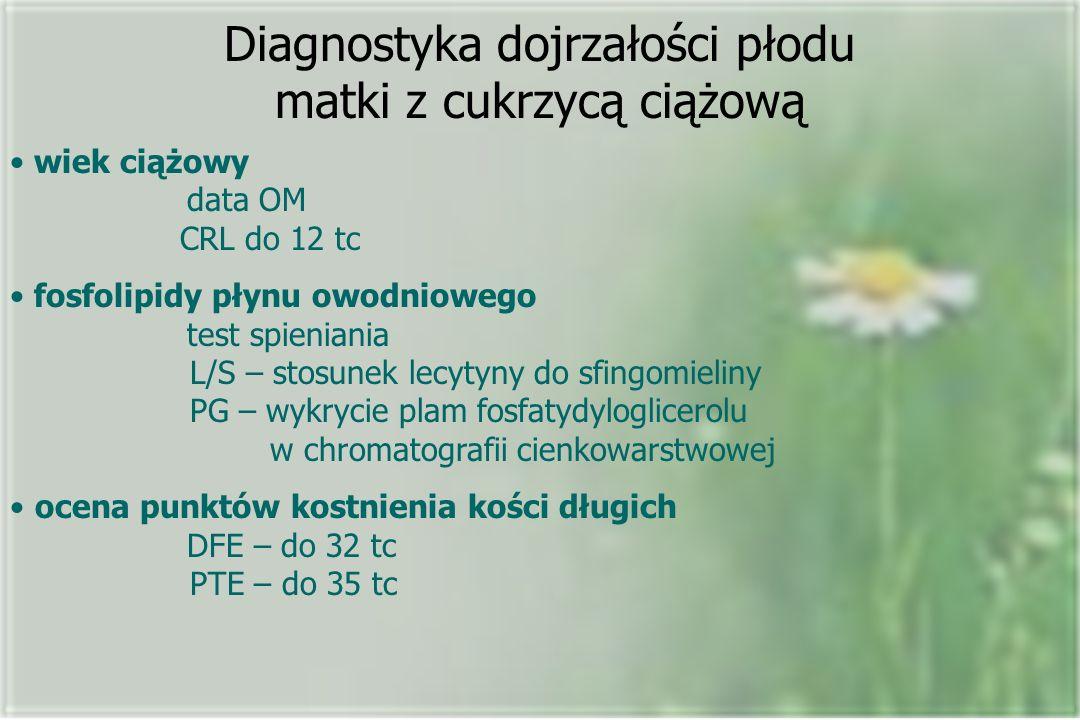 Diagnostyka dojrzałości płodu matki z cukrzycą ciążową wiek ciążowy data OM CRL do 12 tc fosfolipidy płynu owodniowego test spieniania L/S – stosunek lecytyny do sfingomieliny PG – wykrycie plam fosfatydyloglicerolu w chromatografii cienkowarstwowej ocena punktów kostnienia kości długich DFE – do 32 tc PTE – do 35 tc