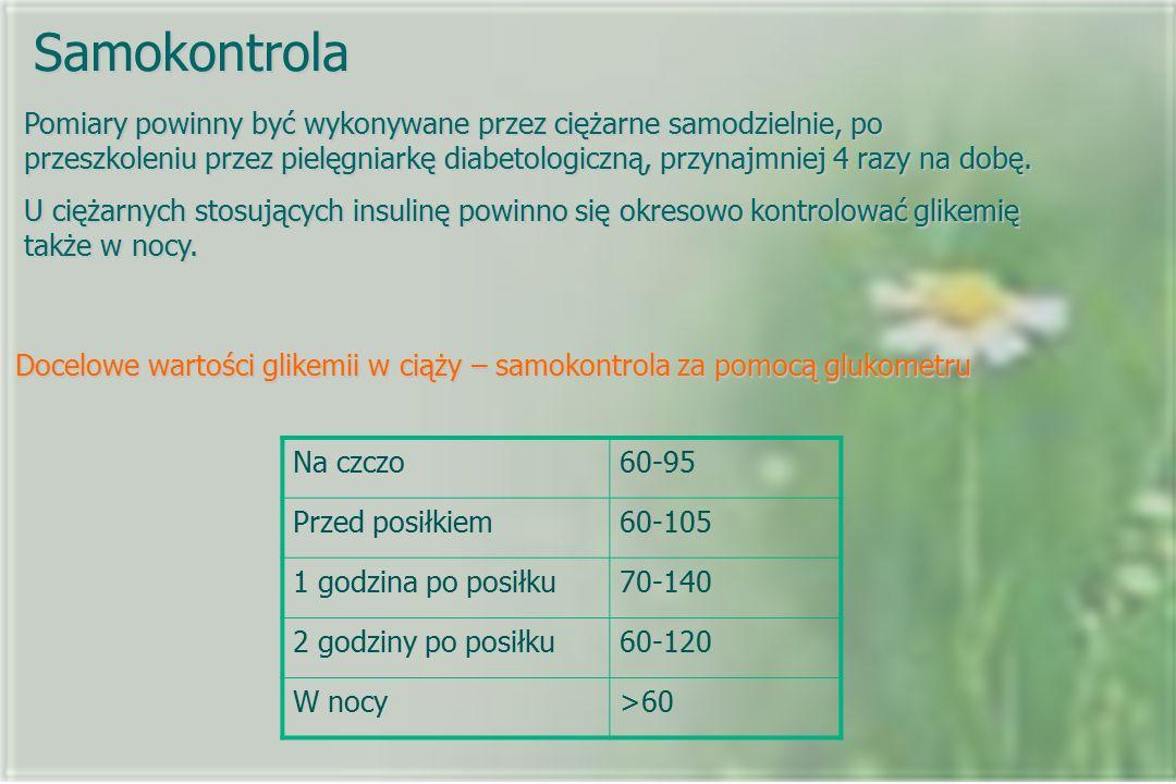 Samokontrola Pomiary powinny być wykonywane przez ciężarne samodzielnie, po przeszkoleniu przez pielęgniarkę diabetologiczną, przynajmniej 4 razy na d