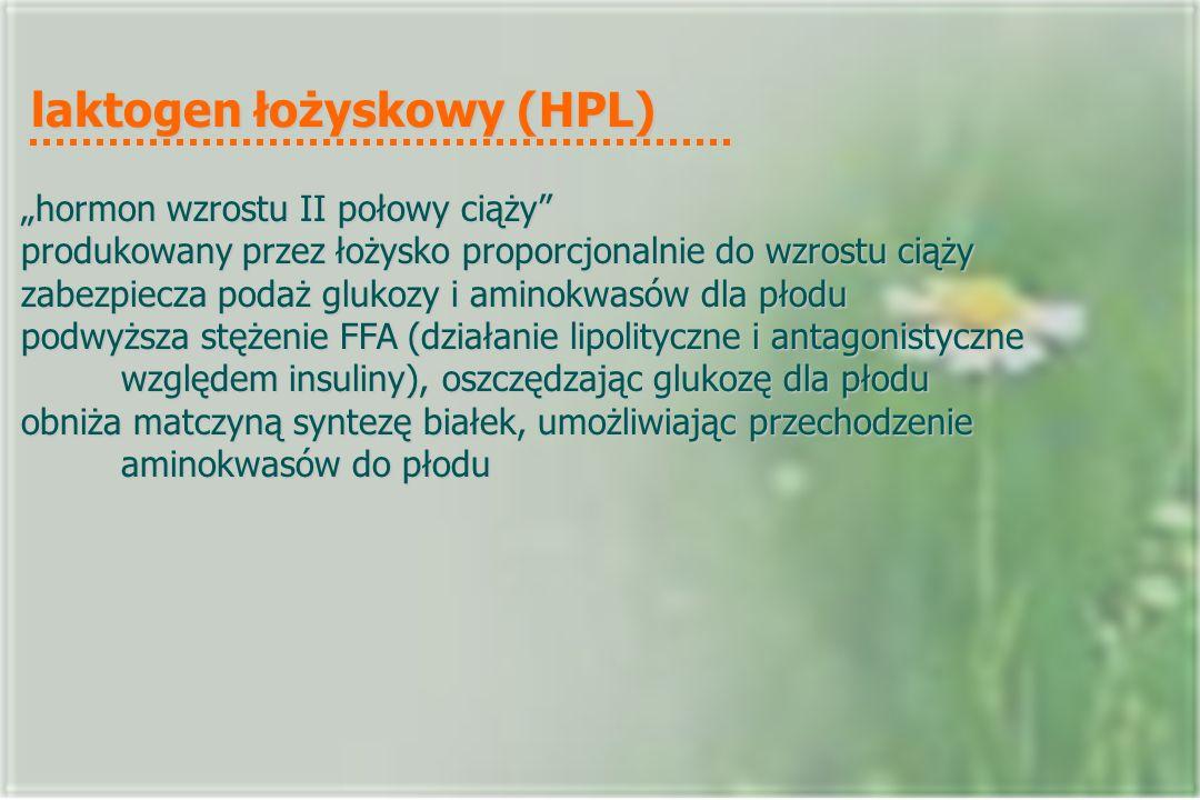 """laktogen łożyskowy (HPL) """"hormon wzrostu II połowy ciąży produkowany przez łożysko proporcjonalnie do wzrostu ciąży zabezpiecza podaż glukozy i aminokwasów dla płodu podwyższa stężenie FFA (działanie lipolityczne i antagonistyczne względem insuliny), oszczędzając glukozę dla płodu obniża matczyną syntezę białek, umożliwiając przechodzenie aminokwasów do płodu"""