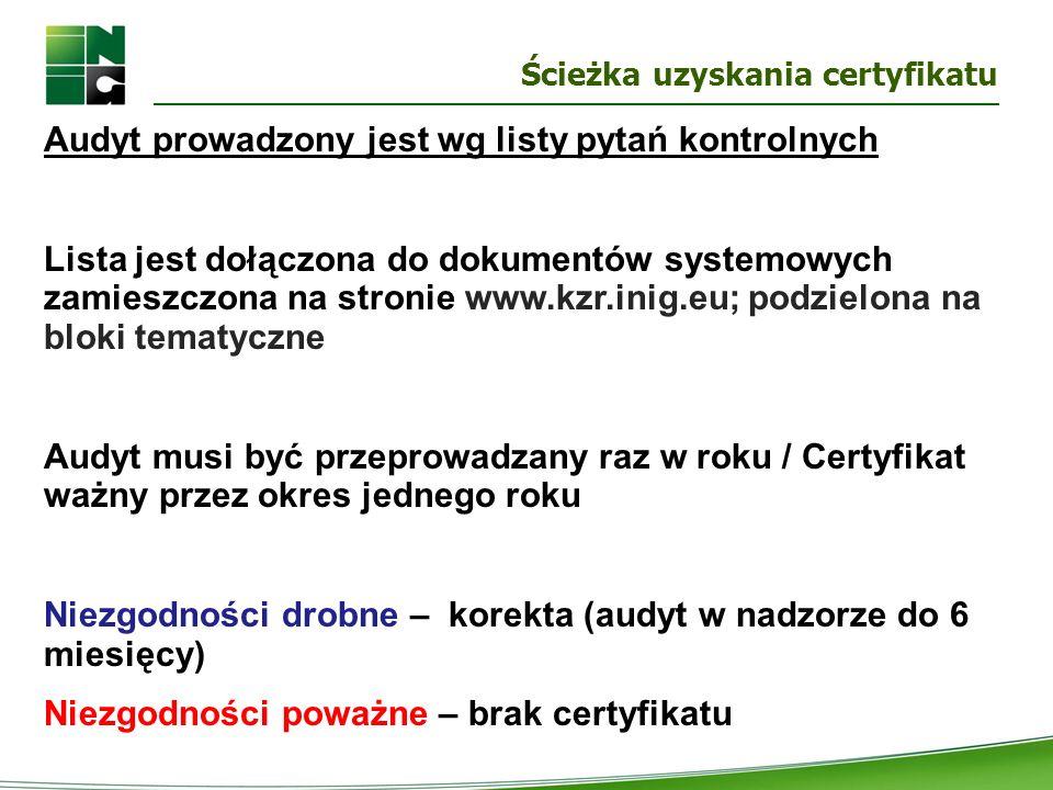 Ścieżka uzyskania certyfikatu Audyt prowadzony jest wg listy pytań kontrolnych Lista jest dołączona do dokumentów systemowych zamieszczona na stronie