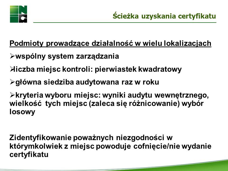 Ścieżka uzyskania certyfikatu Podmioty prowadzące działalność w wielu lokalizacjach  wspólny system zarządzania  liczba miejsc kontroli: pierwiastek