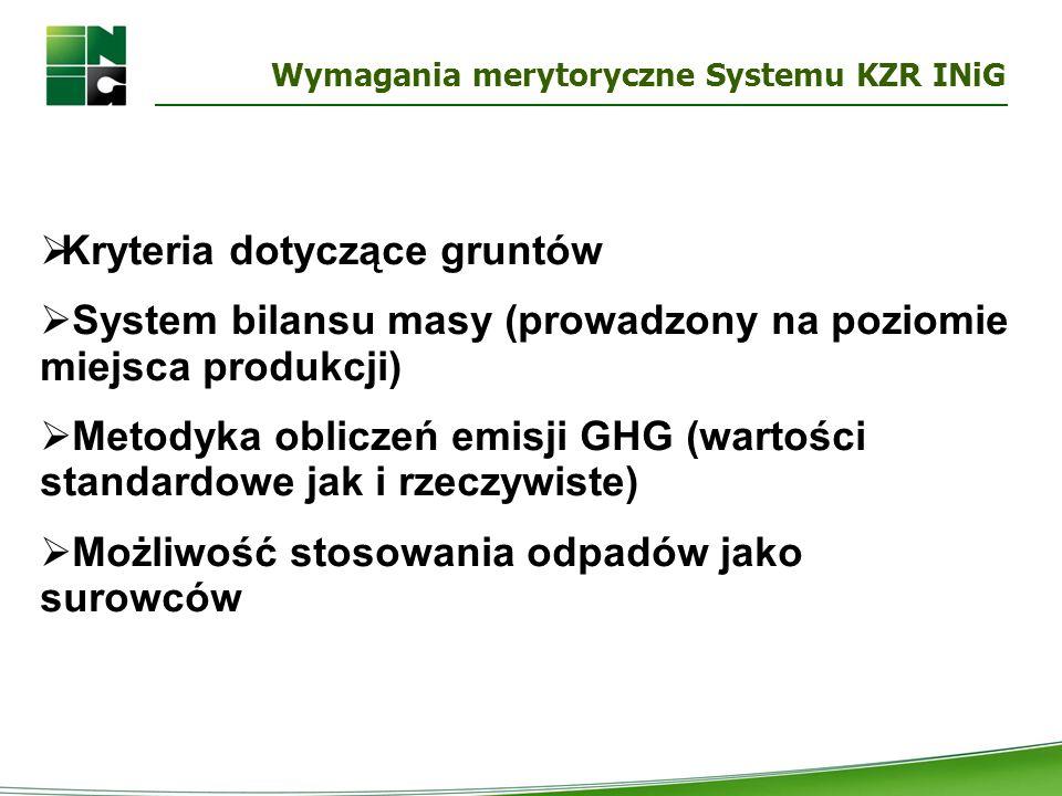 Wymagania merytoryczne Systemu KZR INiG  Kryteria dotyczące gruntów  System bilansu masy (prowadzony na poziomie miejsca produkcji)  Metodyka oblic