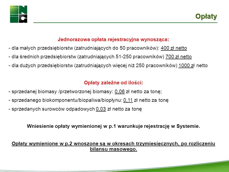 Opłaty Jednorazowa opłata rejestracyjna wynosząca: - dla małych przedsiębiorstw (zatrudniających do 50 pracowników): 400 zł netto - dla średnich przed