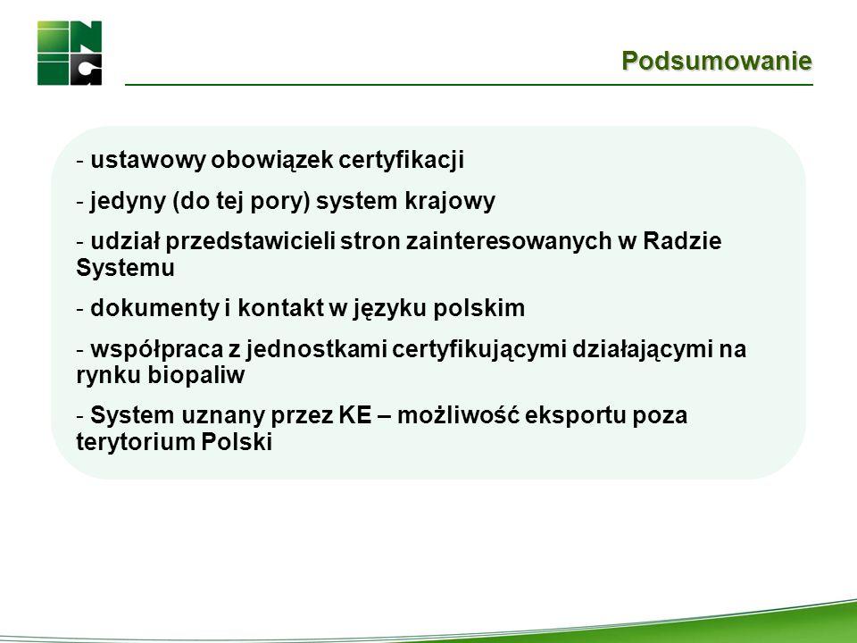 Podsumowanie - ustawowy obowiązek certyfikacji - jedyny (do tej pory) system krajowy - udział przedstawicieli stron zainteresowanych w Radzie Systemu
