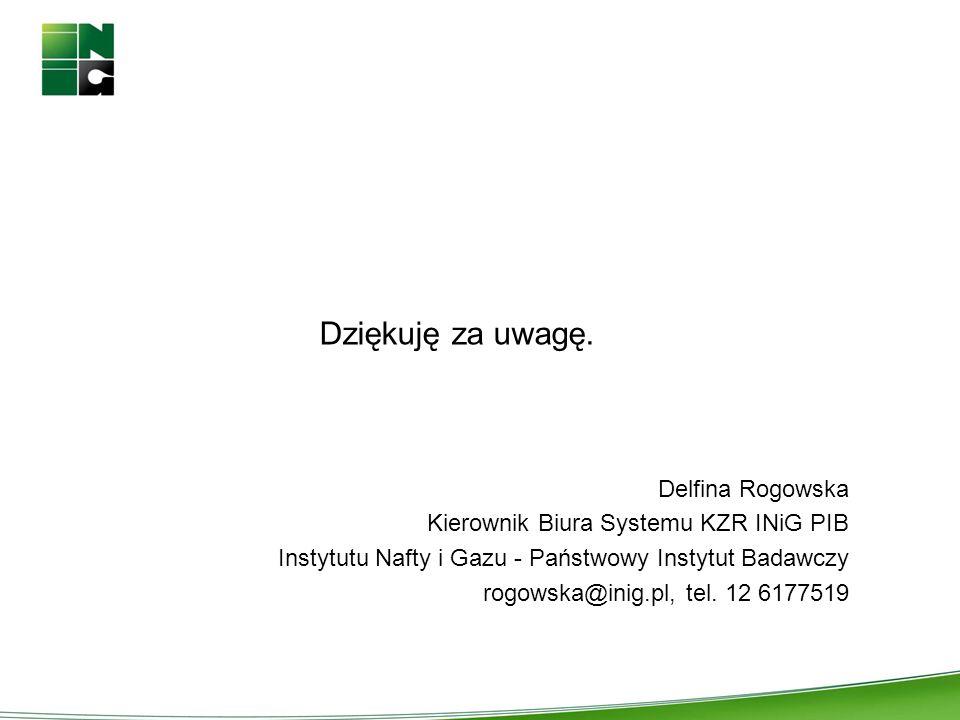 Dziękuję za uwagę. Delfina Rogowska Kierownik Biura Systemu KZR INiG PIB Instytutu Nafty i Gazu - Państwowy Instytut Badawczy rogowska@inig.pl, tel. 1