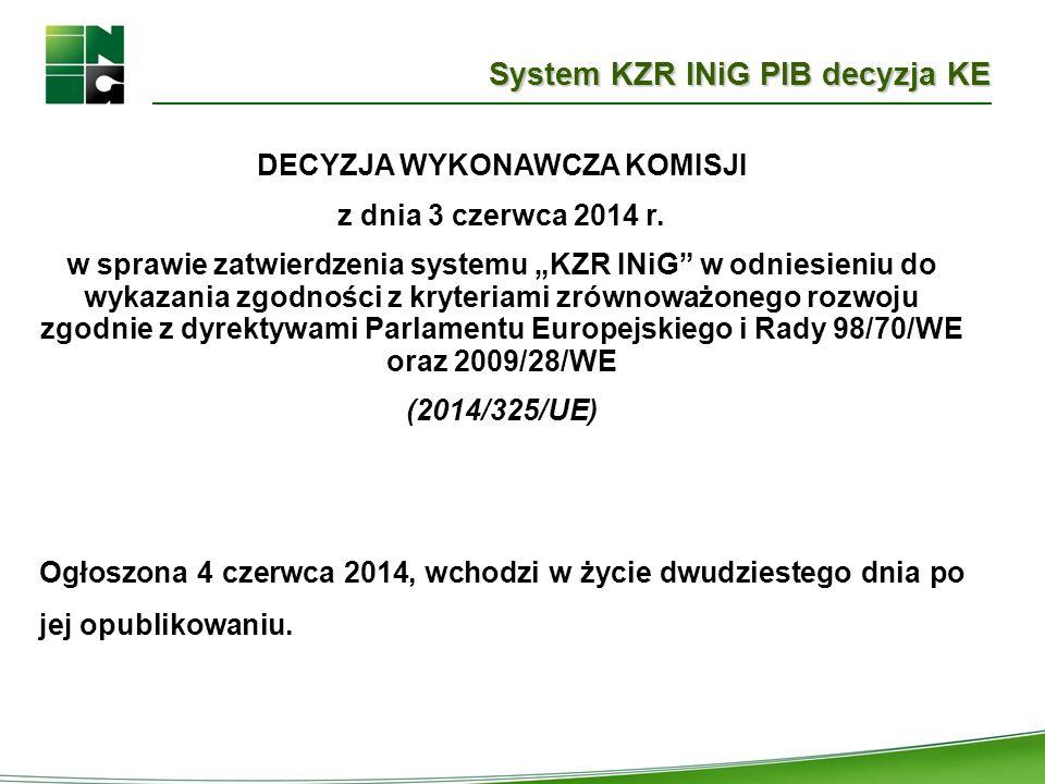 """System KZR INiG PIB decyzja KE DECYZJA WYKONAWCZA KOMISJI z dnia 3 czerwca 2014 r. w sprawie zatwierdzenia systemu """"KZR INiG"""" w odniesieniu do wykazan"""