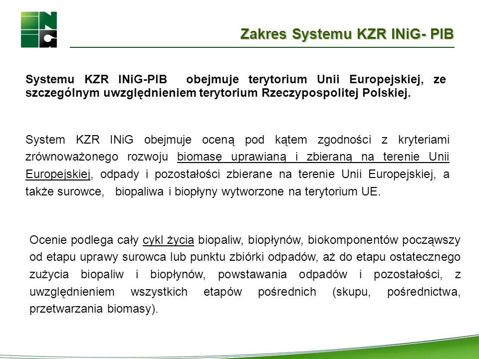 Zakres Systemu KZR INiG- PIB System KZR INiG obejmuje oceną pod kątem zgodności z kryteriami zrównoważonego rozwoju biomasę uprawianą i zbieraną na te