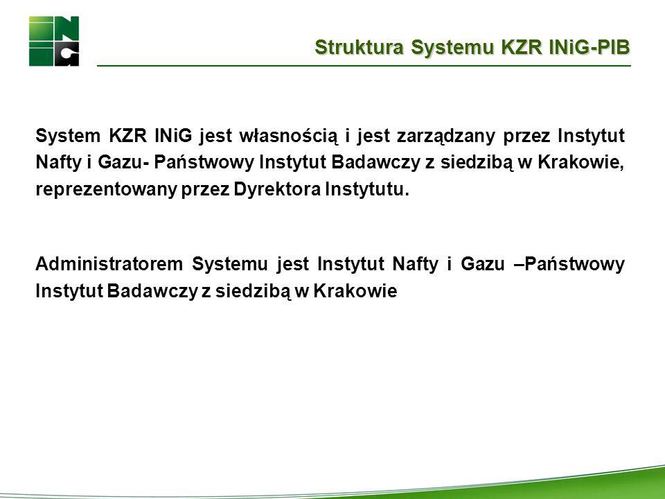 Struktura Systemu KZR INiG-PIB System KZR INiG jest własnością i jest zarządzany przez Instytut Nafty i Gazu- Państwowy Instytut Badawczy z siedzibą w