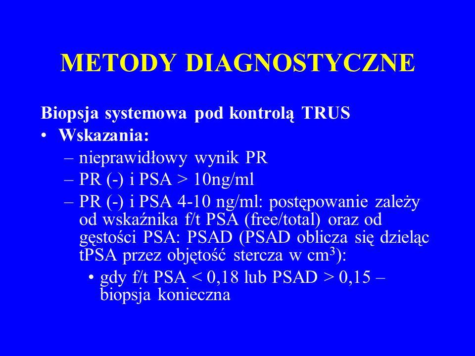 METODY DIAGNOSTYCZNE Biopsja systemowa pod kontrolą TRUS Wskazania: –nieprawidłowy wynik PR –PR (-) i PSA > 10ng/ml –PR (-) i PSA 4-10 ng/ml: postępowanie zależy od wskaźnika f/t PSA (free/total) oraz od gęstości PSA: PSAD (PSAD oblicza się dzieląc tPSA przez objętość stercza w cm 3 ): gdy f/t PSA 0,15 – biopsja konieczna
