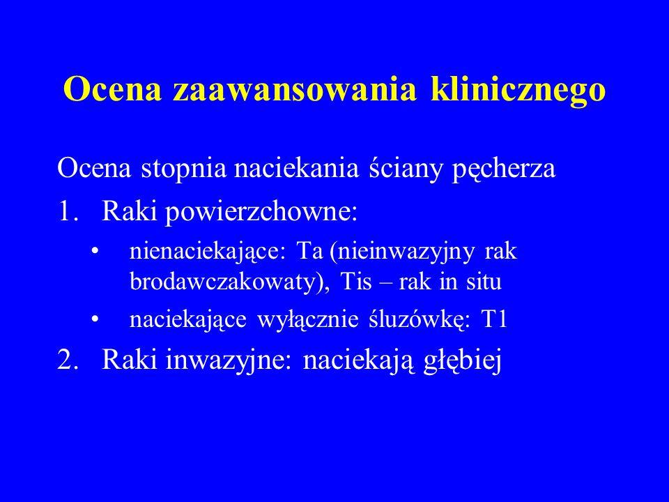 Ocena zaawansowania klinicznego Ocena stopnia naciekania ściany pęcherza 1.Raki powierzchowne: nienaciekające: Ta (nieinwazyjny rak brodawczakowaty), Tis – rak in situ naciekające wyłącznie śluzówkę: T1 2.Raki inwazyjne: naciekają głębiej