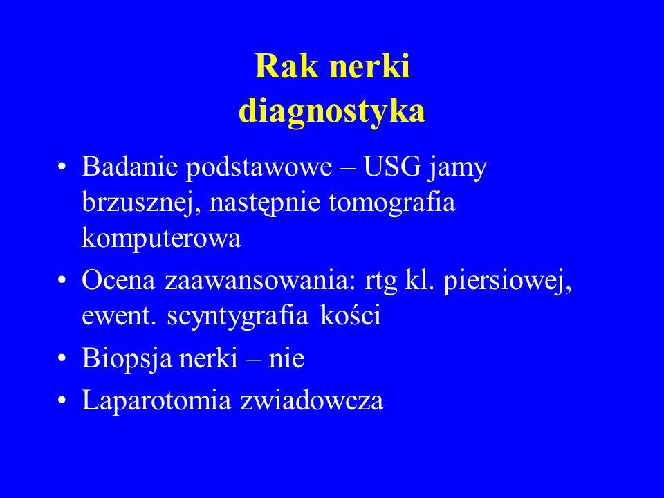 Rak nerki diagnostyka Badanie podstawowe – USG jamy brzusznej, następnie tomografia komputerowa Ocena zaawansowania: rtg kl.