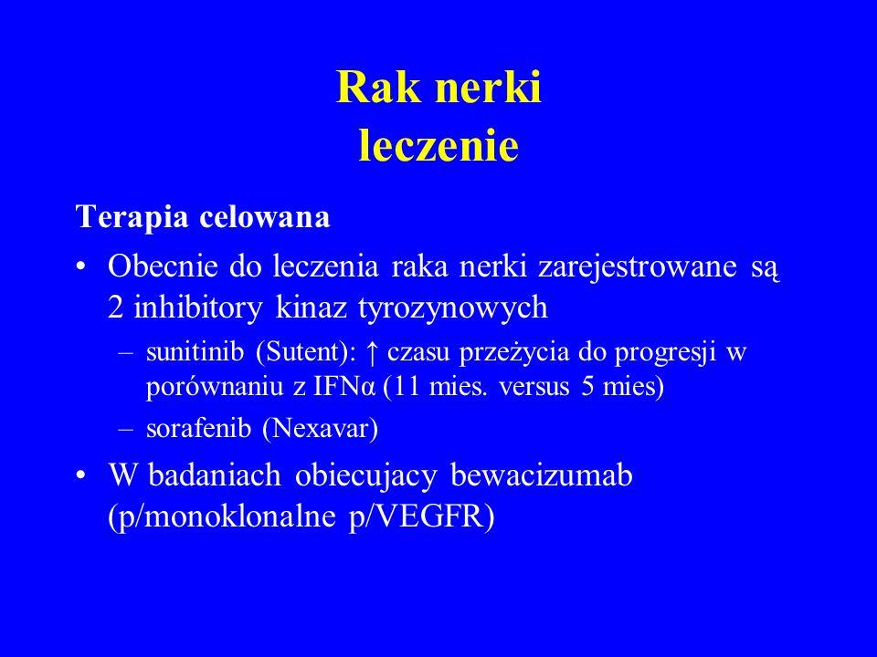 Rak nerki leczenie Terapia celowana Obecnie do leczenia raka nerki zarejestrowane są 2 inhibitory kinaz tyrozynowych –sunitinib (Sutent): ↑ czasu przeżycia do progresji w porównaniu z IFNα (11 mies.