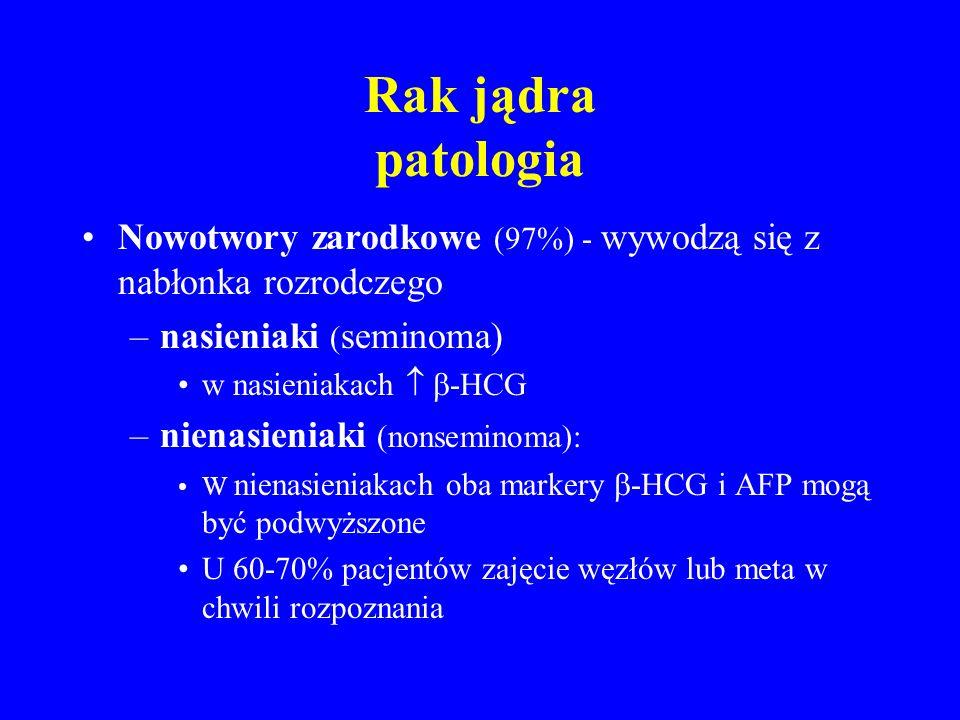 Rak jądra patologia Nowotwory zarodkowe (97%) - wywodzą się z nabłonka rozrodczego –nasieniaki ( seminoma) w nasieniakach   -HCG –nienasieniaki (nonseminoma): W nienasieniakach oba markery  -HCG i AFP mogą być podwyższone U 60-70% pacjentów zajęcie węzłów lub meta w chwili rozpoznania