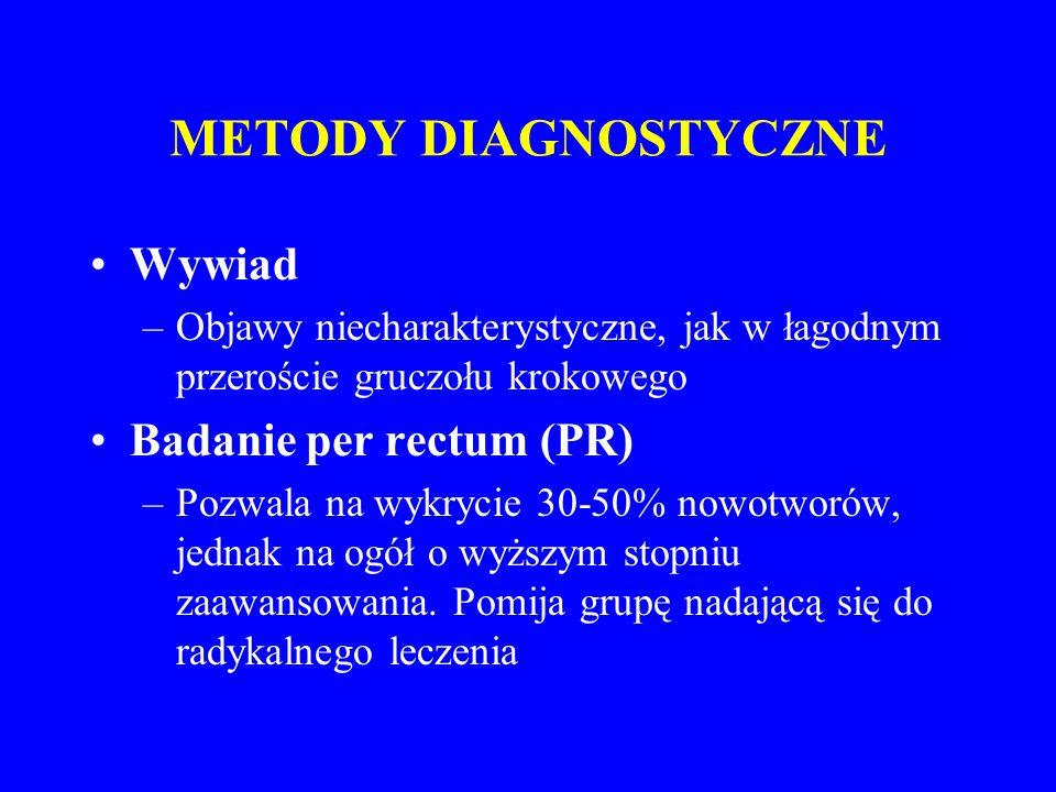 METODY DIAGNOSTYCZNE Wywiad –Objawy niecharakterystyczne, jak w łagodnym przeroście gruczołu krokowego Badanie per rectum (PR) –Pozwala na wykrycie 30-50% nowotworów, jednak na ogół o wyższym stopniu zaawansowania.