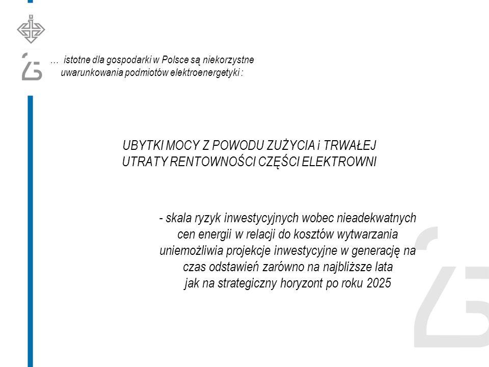 … istotne dla gospodarki w Polsce są niekorzystne uwarunkowania podmiotów elektroenergetyki : UBYTKI MOCY Z POWODU ZUŻYCIA i TRWAŁEJ UTRATY RENTOWNOŚCI CZĘŚCI ELEKTROWNI - skala ryzyk inwestycyjnych wobec nieadekwatnych cen energii w relacji do kosztów wytwarzania uniemożliwia projekcje inwestycyjne w generację na czas odstawień zarówno na najbliższe lata jak na strategiczny horyzont po roku 2025