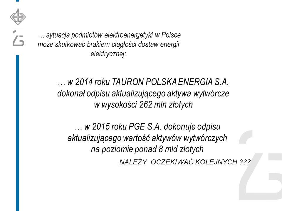 … sytuacja podmiotów elektroenergetyki w Polsce może skutkować brakiem ciągłości dostaw energii elektrycznej: … w 2015 roku PGE S.A.