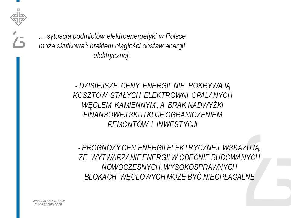 … sytuacja podmiotów elektroenergetyki w Polsce może skutkować brakiem ciągłości dostaw energii elektrycznej: - DZISIEJSZE CENY ENERGII NIE POKRYWAJĄ KOSZTÓW STAŁYCH ELEKTROWNI OPALANYCH WĘGLEM KAMIENNYM, A BRAK NADWYŻKI FINANSOWEJ SKUTKUJE OGRANICZENIEM REMONTÓW I INWESTYCJI - PROGNOZY CEN ENERGII ELEKTRYCZNEJ WSKAZUJĄ, ŻE WYTWARZANIE ENERGII W OBECNIE BUDOWANYCH NOWOCZESNYCH, WYSOKOSPRAWNYCH BLOKACH WĘGLOWYCH MOŻE BYĆ NIEOPŁACALNE OPRACOWANIE WŁASNE Z WYSTĄPIEŃ TGPE