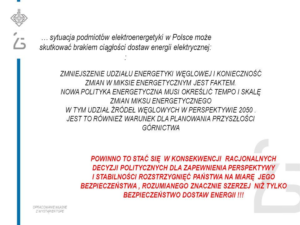 … sytuacja podmiotów elektroenergetyki w Polsce może skutkować brakiem ciągłości dostaw energii elektrycznej: : ZMNIEJSZENIE UDZIAŁU ENERGETYKI WĘGLOWEJ I KONIECZNOŚĆ ZMIAN W MIKSIE ENERGETYCZNYM JEST FAKTEM.