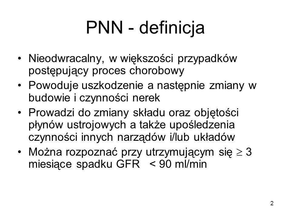 3 PNN - etiologia Pierwotne gromerulopatie23,75 % Nefropatia cukrzycowa19,8 % Śródmiąższowe zapalenie nerek 15,4 % (bakteryjne i niebakteryjne) Nefropatia nadciśnieniowa10,2 % Wielotorbielowatość nerek 8 % Choroby układowe 2,64 % Amyloidoza wtórna1,85 % Nowotwory układu moczowego1,19 % Szpiczak 0,59 % Dna moczanowa0,56 %