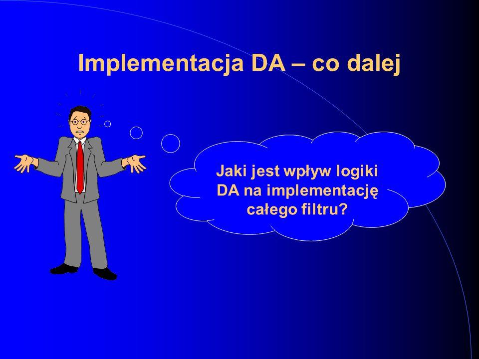 Implementacja DA – co dalej Jaki jest wpływ logiki DA na implementację całego filtru?