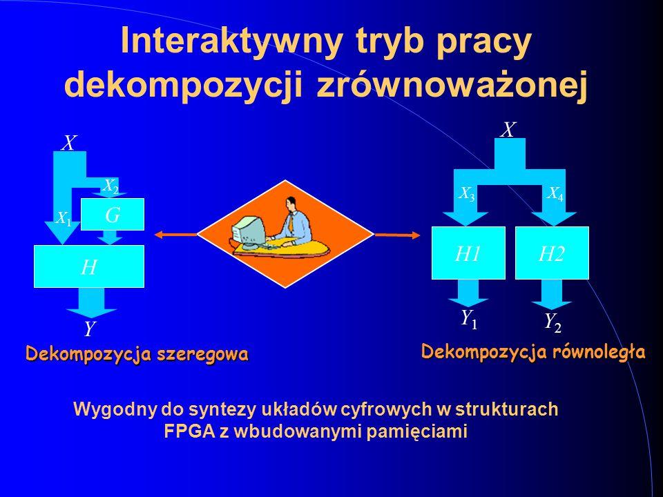G H X Y X1X1 X2X2 H2H1 X Y1Y1 Y2Y2 X3X3 X4X4 Dekompozycja szeregowa Dekompozycja równoległa Interaktywny tryb pracy dekompozycji zrównoważonej Wygodny do syntezy układów cyfrowych w strukturach FPGA z wbudowanymi pamięciami
