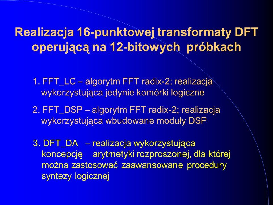 Realizacja 16-punktowej transformaty DFT operującą na 12-bitowych próbkach 1. FFT_LC – algorytm FFT radix-2; realiz a cja wykorzystująca jedynie komór